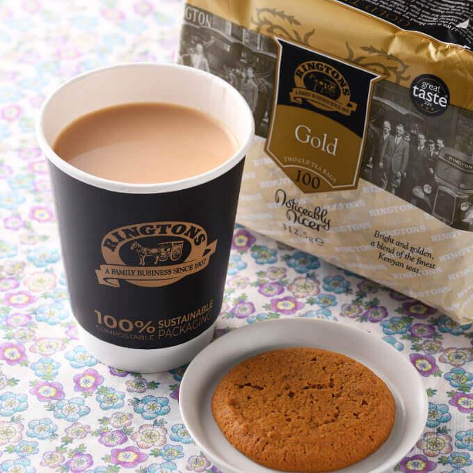 〈リントンズ〉英国紅茶商のミルクティー&ジンジャービスケット