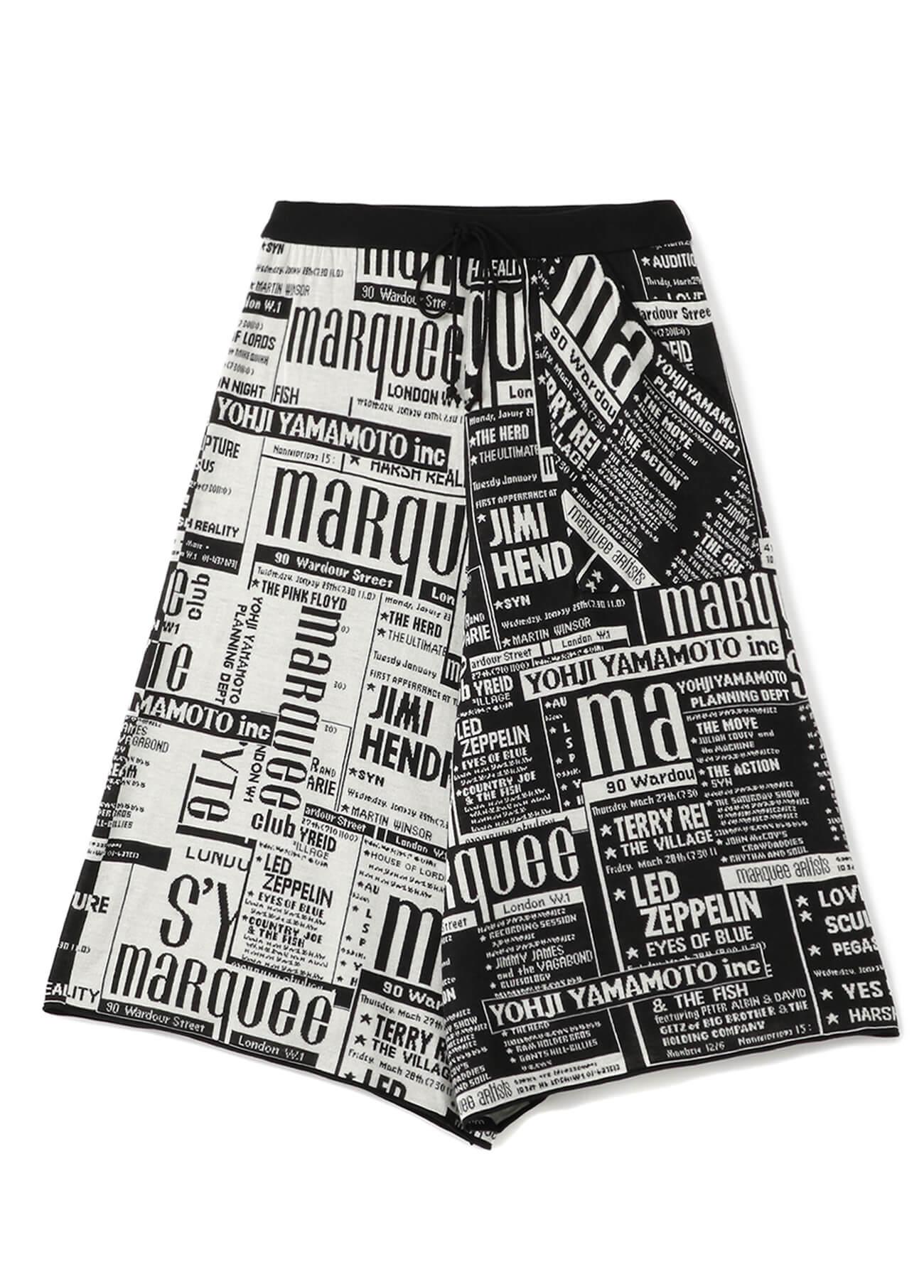 マーキー・クラブ®のライブ・ポスターを新聞紙風にコラージュしたパンツ 32,000円