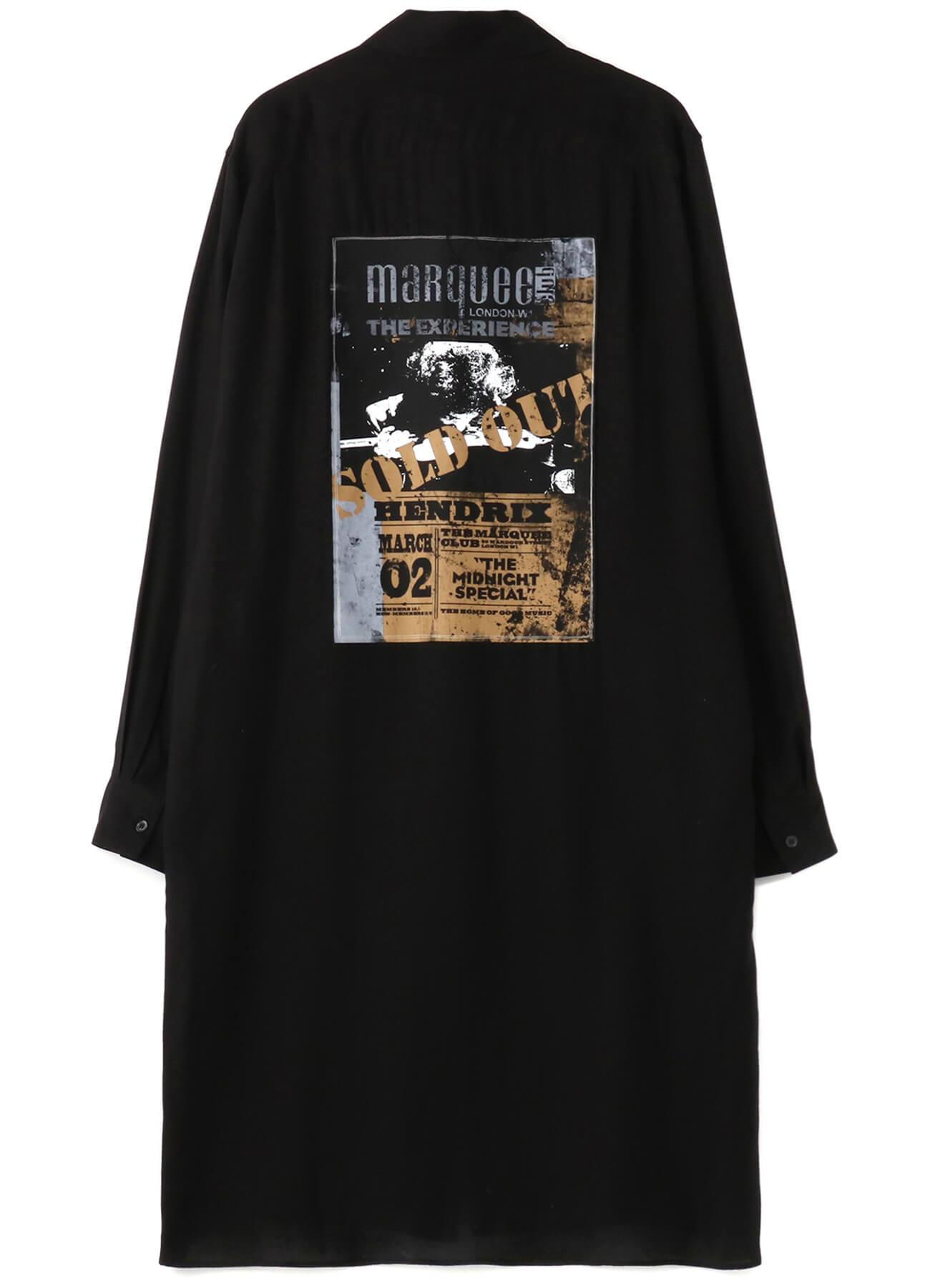 マーキー・クラブ®にJIMI HENDRIXが出演した時代のライブ・フォト、ライブ・フライヤーにS'YTEオリジナルのペイントを施したロングシャツ 23,500円