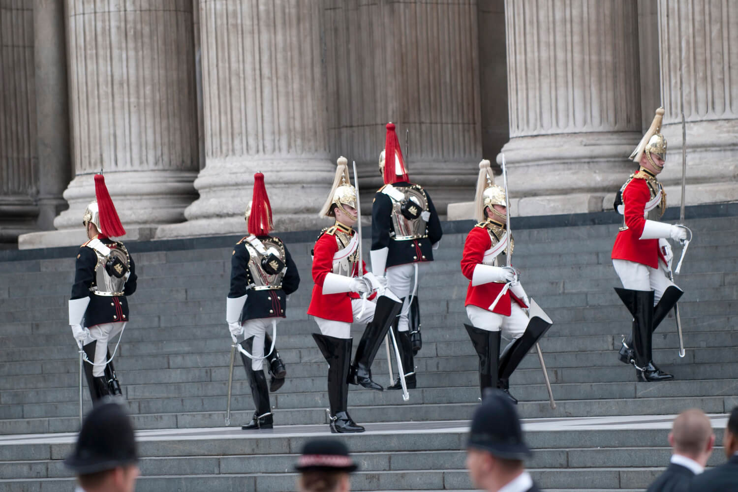 Forces Personnel Line the Steps to St Paul's Cathedral for Diamond Jubilee Service
