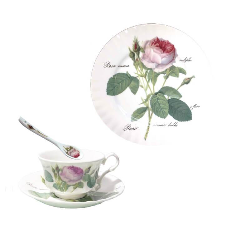 ロイカーカムの碗皿(スプーン付き、ファインボーンチャイナ、230ml)5,280円 / プレート(ファインボーンチャイナ、直径27cm)5,500円
