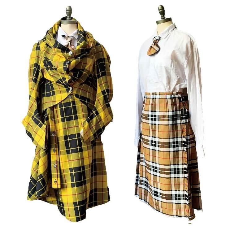 (写真左)STREET LONDONのジャケット・スカート(ポリエステル65%・レーヨン35%、フリーサイズ)各37,400円 / (写真右)STREET LONDONのキルトスカート(表地 : ポリエステル65%・レーヨン35%、ベルト部分 : 牛革、フリーサイズ)37,400円