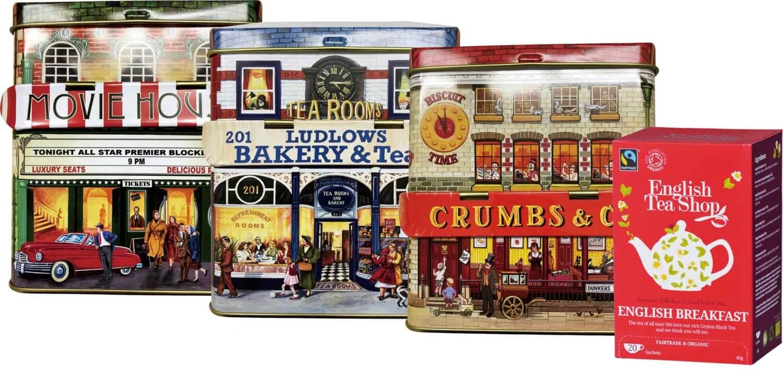 9種類のティーバッグから1点と3種類のハウス缶から1点選ぶことができる、2020年女王賞受賞のブランド「イングリッシュティーショップ」ティーバッグ&ハウス缶セット(約2g×20包)2,201円