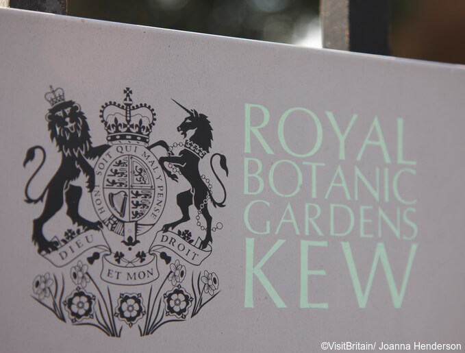 The Royal Botanic Gardens, Kew, usually referred to as Kew Gardens. A national landmark and visitor attraction in West London. The entrance sign.